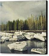 Klondike River Ice Break Canvas Print by Priska Wettstein
