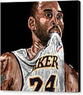 Kobe Bryant Biting Jersey Canvas Print by Israel Torres