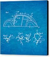 Komenda Vw Beetle Body Design Patent Art 1942 Blueprint Canvas Print by Ian Monk