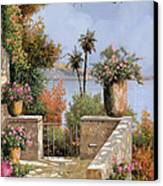La Terrazza Un Vaso Due Palme Canvas Print by Guido Borelli