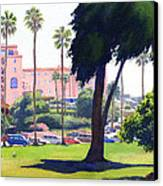 La Valencia Hotel And Cypress Canvas Print by Mary Helmreich