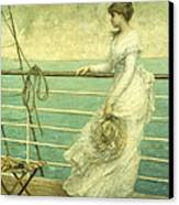 Lady On The Deck Of A Ship  Canvas Print by French School
