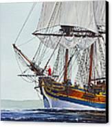 Lady Washington And Captain Gray Canvas Print by James Williamson