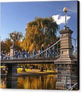 Lagoon Bridge In Autumn Canvas Print by Joann Vitali