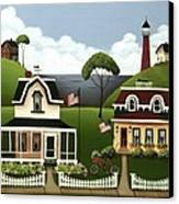 Lake Cottages Canvas Print by Catherine Holman