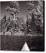 Lake Kayaking Bw Canvas Print by Steve Gadomski
