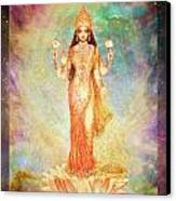 Lakshmi Floating In A Galaxy Canvas Print by Ananda Vdovic
