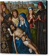 Lamentation With Saint John The Baptist And Saint Catherine Of Alexandria Canvas Print by Master of the Legend of Saint Lucy