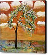 Landscape Art Scenic Tree Tangerine Sky Canvas Print by Blenda Studio