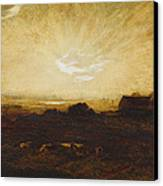Landscape At Sunset Canvas Print by Marie Auguste Emile Rene Menard
