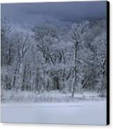 Late Snow At The Rio Grande Canvas Print by Ellen Heaverlo