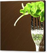 Leaf Of Lettuce On A Fork Canvas Print by Sandra Cunningham