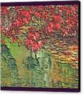 Leaves On The Creek 3 With Small Border 3 Canvas Print by L Brown