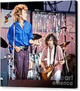 Led Zeppelin Page And Plant Live Aid 1985 Canvas Print by Chuck Spang