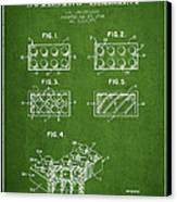 Lego Toy Building Element Patent - Green Canvas Print by Aged Pixel