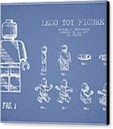 Lego Toy Figure Patent Drawing From 1979 - Light Blue Canvas Print by Aged Pixel