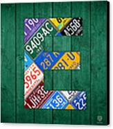 Letter E Alphabet Vintage License Plate Art Canvas Print by Design Turnpike