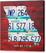 License Plate Map Of Missouri - Show Me State - By Design Turnpike Canvas Print by Design Turnpike