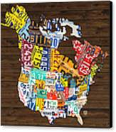License Plate Map Of North America - Canada And United States Canvas Print by Design Turnpike