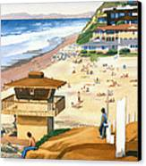 Lifeguard Station At Moonlight Beach Canvas Print by Mary Helmreich