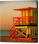 Lifeguard Tower In Miami Beach Canvas Print by Monique Wegmueller
