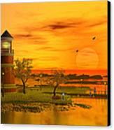 Lighthouse At Sunset Canvas Print by John Junek