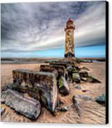 Lighthouse At Talacre  Canvas Print by Adrian Evans