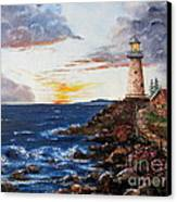 Lighthouse Road At Sunset Canvas Print by Lee Piper