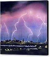 Lightning On The Bay Bridge Canvas Print by Janaka Ruiz