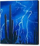 Lightning  Over The Sonoran Canvas Print by Sharon Duguay