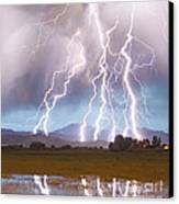 Lightning Striking Longs Peak Foothills 4c Canvas Print by James BO  Insogna