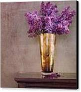 Lilacs In Vase 1 Canvas Print by Rebecca Cozart