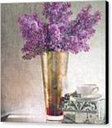 Lilacs In Vase 2 Canvas Print by Rebecca Cozart