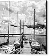 Lined Up At The Dock Canvas Print by Kathy Liebrum Bailey
