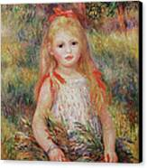 Little Girl Carrying Flowers Canvas Print by Pierre Auguste Renoir