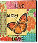 Live Laugh Love Patch Canvas Print by Debbie DeWitt