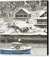 Lobster Boat After Snowstorm In Tenants Harbor Maine Canvas Print by Keith Webber Jr