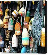 Lobster Buoys Fishermans Shed Canvas Print by Thomas R Fletcher