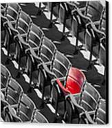 Lone Red Number 21 Fenway Park Bw Canvas Print by Susan Candelario