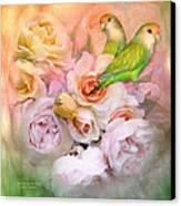 Love Among The Roses Canvas Print by Carol Cavalaris