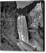 Lower Falls In Yellowstone In Black And White Canvas Print by Dan Sproul