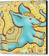 Lucky Elephant Turquoise Canvas Print by Judith Grzimek