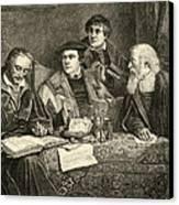 Luther Melancthon Pomeranus And Cruciger Translating  Canvas Print by English School