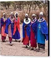 Maasai Women In Front Of Their Village In Tanzania Canvas Print by Michal Bednarek