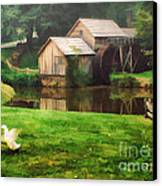 Mabrys Mill And The Welcoming Committee Canvas Print by Darren Fisher