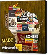 Made In Wisconsin Products Vintage Map On Wood Canvas Print by Design Turnpike