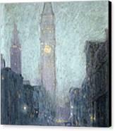 Madison Avenue At Twilight Canvas Print by Lowell Birge Harrison