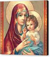 Madonna And Sitting Baby Jesus Canvas Print by Zorina Baldescu