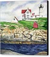 Maine Lighthouse Watercolor Canvas Print by Michelle Wiarda