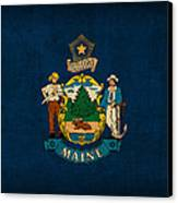 Maine State Flag Art On Worn Canvas Canvas Print by Design Turnpike